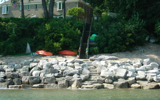 Stone Revetment With Stairs Leading To Water
